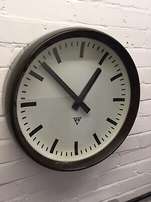Large Rare 1966 Original Vintage Industrial 50cm Pragotron Factory Railway Clock