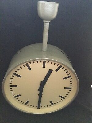 Large 60s Double Sided Round Original Vintage Industrial Pragotron Railway Clock