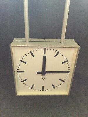 Large Double Sided Original Vintage Metal Industrial Pragotron Railway Clock