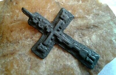 """ANTIQUE c.18-19th CENTURY """"OLD BELIEVERS"""" ORTHODOX CROSS """"KING OF GLORY"""""""