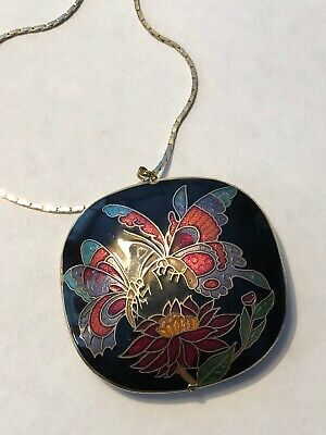 Vintage Chinese Cloisonné Double Sided Enamel Flowers Butterfly Pendant Necklace