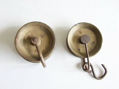 Two antique long case/grandfather clock pulleys for rope lines
