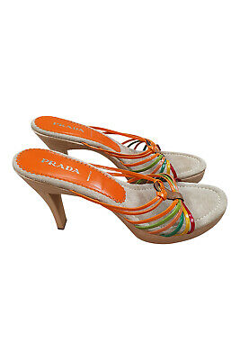 PRADA Rainbow Multi-Coloured Patent Leather Strapped Wooden Heel Sandals (40)
