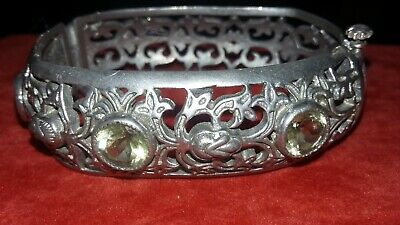 Unusual Arts And Crafts Pewter And Natural Citrine Oddly Shaped Bangle Bracelet