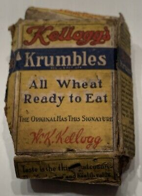 circa 1915 KELLOGG'S KRUMBLES WHEAT CEREAL SAMPLE BOX, ORIGINAL, GENUINE