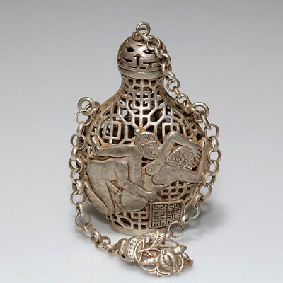 Tibetan Silver Vintage Asian Open Work Flask Style Ornament Pendant