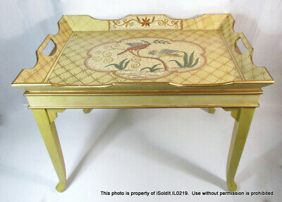 YELLOW GOLD Wooden COFFEE TABLE Crackle Finish, Painted Birds - PICK UP ONLY!!!