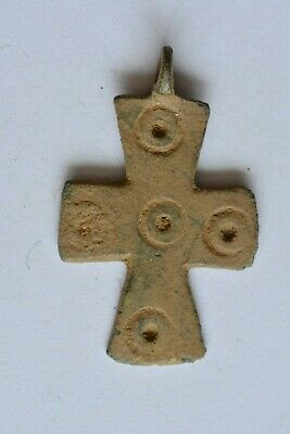 Early Byzantine bronze cross dots decorated 6th century AD.