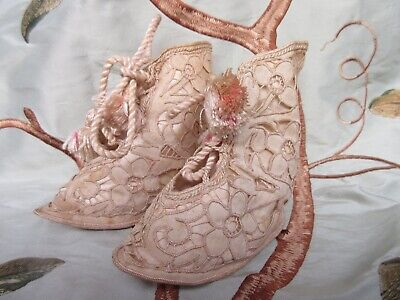 Vintage Silk embroidered Cutwork Baby Boots pink & beige