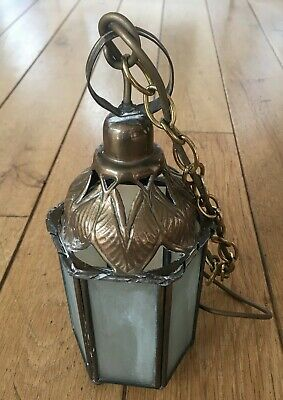 Beautiful Antique Vintage Arts & Crafts Brass And Glass Lantern Pendant