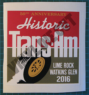 Historic Trans Am 50Th Anniversary Vinyl Decal Sticker-Scca-Watkins Glen-Racing