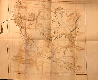 Original Circa 1850 US Map Of Frontier Stations And Lines Of Transportation