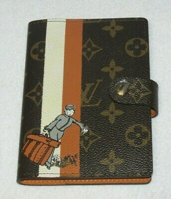 Auth LOUIS VUITTON Agenda PM Day Planner Cover Monogram Groom in Orange 2007