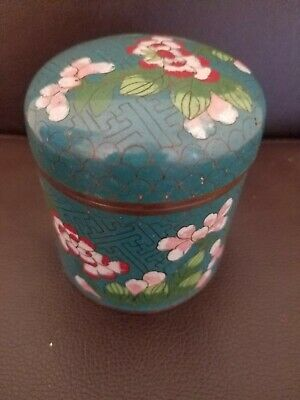 Old Chinese Cloisonne Round Box with Lid and Many Flowers