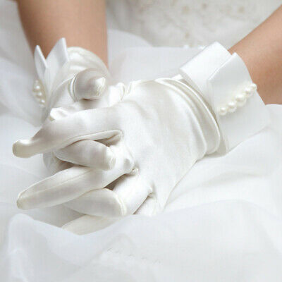 White Satin Gloves With Bow Pretty Communion Gloves Girl Bride Wedding Dress #KN