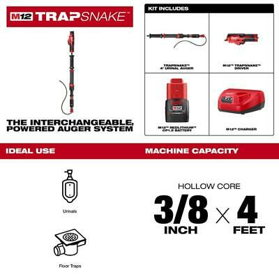 M12 Trap Snake 12-Volt Lithium-Ion Cordless 4 Ft. Urinal Auger Drain Cleaning Ki