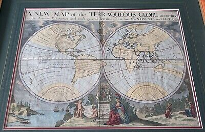 1700 A New Map of the Terraqueous Globe Historic Vintage Style Wall Map 18x24