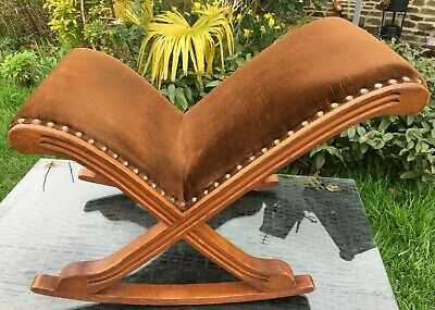 OAK Foot Stool GOUT ROCKING STOOL VINTAGE FRENCH CHOCOLATE BROWN VELOUR