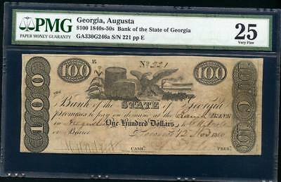 """1840'S-50'S  Augusta Ga $100.00  """"Bank Of The State Of Ga""""  Pmg 25 Please Lqqk!*"""