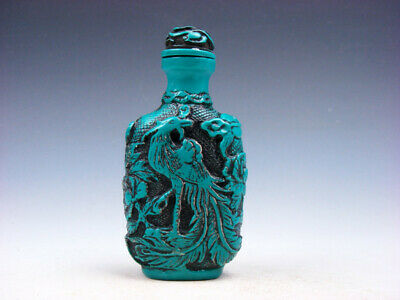 Turquoise Glazed Phoenix Birds & Flower Blossoms Carved Snuff Bottle #03142018