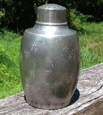 Liberty & Co. English Pewter Hand Made Shaker W/swirls Arts & Crafts Hammered