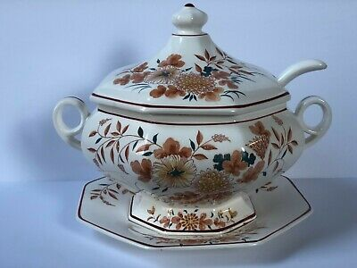 Royal Sealy Orange Floral Soup Tureen with Under Plate Ladle Japan