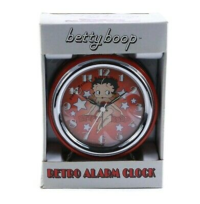 Betty Boop Retro Alarm Clock New in Box 2004 Red silver NEW IN BOX