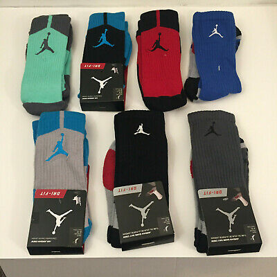 Nike Air Jordan Dri Fit Cushioned Crew Socks Mens Size 8-12 Single Pair.