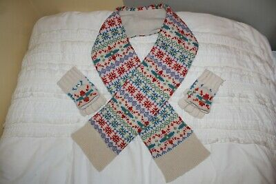 GAP Fair Isle Vintage Knit Style 100% Lambswool Scarf,Gloves,Mittens,Set,Childs