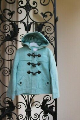 NEXT Girls Blue DUFFLE Coat,Warm Winter Jacket,Hood,7-8 years Wool Vintage Retro