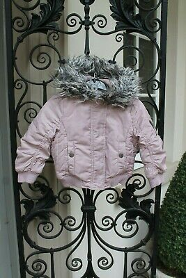 NEXT Girls Pale Pink Hooded Faux Fur Hood COAT,Jacket,Quilted age 3 years