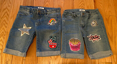 Tractr Girls Kids Children Lot Of 2 Pairs Of Jean Shorts. Size 12. Blue.
