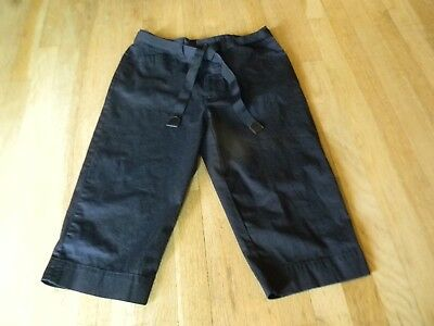 White Stag Womans Capris Size 8 Black Belted Dressy Crop Pants Stretch