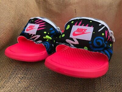 Nike Men's Benassi JDI Fanny Pack Print Slide Sandals Racer Pink CJ2967-600 Bag