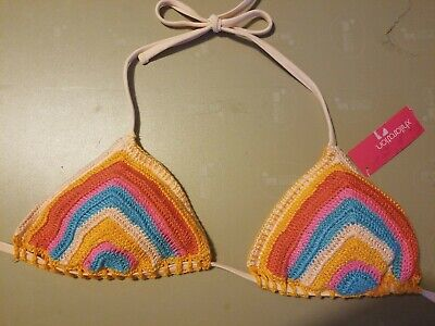 Women's Crochet Triangle Bikini Top - Xhilaration - Blush Pink Stripe - NWT
