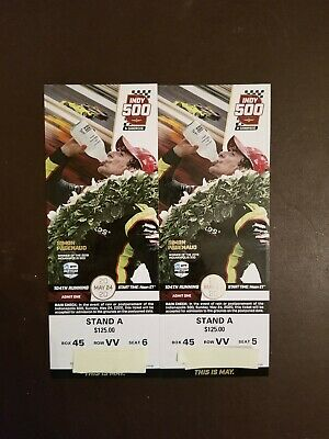 2 Indianapolis Indy 500 tickets, 2020, Stand A, Top Row-VV, Great Seats