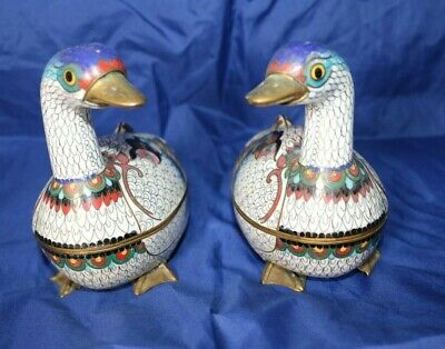 Old Vintage Pair of Oriental Chinese Enamel Cloisonne Ducks Trinket boxes