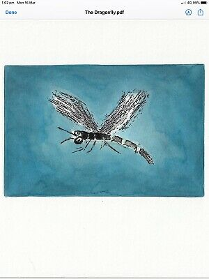 "Pro Hart Hand Colored Etching ""The Dragonfly"" Unsigned inc LOA"