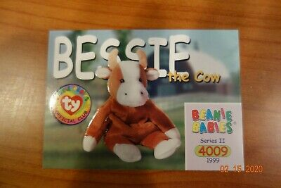 TY Beanie Babies BBOC Card BESSIE the Cow NM//Mint Series 2 Common