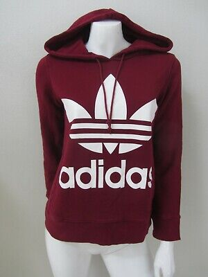 NWOT ADIDAS sz 6/XXS maroon red cotton womens hoodie AS NEW