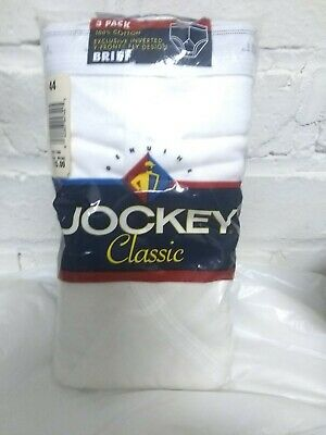 Vintage Jockey Classic 1994 White Inverted Y Front Fly Brief 3 Pack Size 44 USA