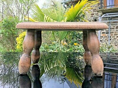 OAK Foot Stool 4 Legged FRENCH VINTAGE BOBBIN SPINDLE LEGS pot plant stand