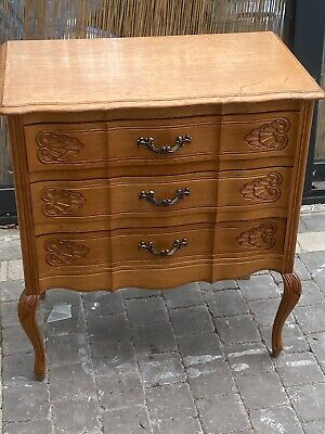 Elegant French Ripple Front Carved Oak Chest Of 3 Drawers