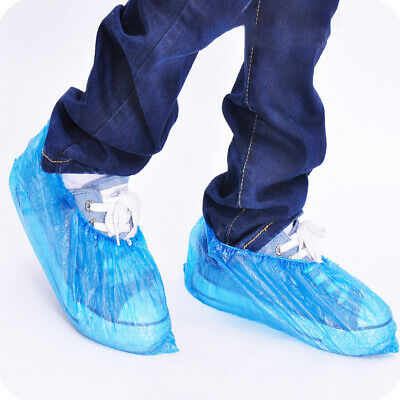 UK Disposable Shoe Cover Blue Anti Slip Plastic Cleaning Overshoes Boot Safety