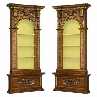 Pair Of Circa 1700 Baroque Walnut & Parcel Gilt Library Bookcases Cherub Angels