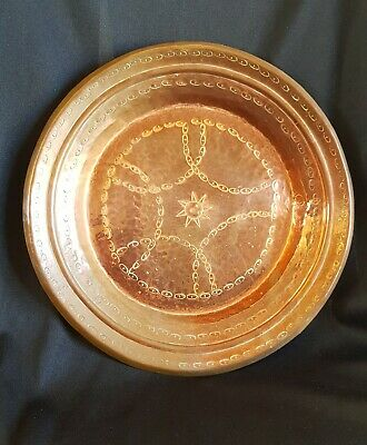 Antique Arts & Crafts Handworked Copper Plate Coin Tray Early 20th C
