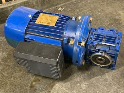 Seipee 1/4HP Motor, 230V, MMFCS11F75-4 w/ Motovario Gearbox NMRV/030, Used, READ