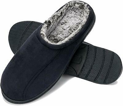 WFL Men's Comfort Memory Foam Slippers Home Shoes Warm Plush Lining for Indoor/O