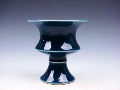 Monochrome Dark Blue Glazed Porcelain High Heel Bowl Cup #01132006