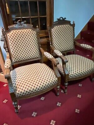 French Walnut Armchairs Matching Pair